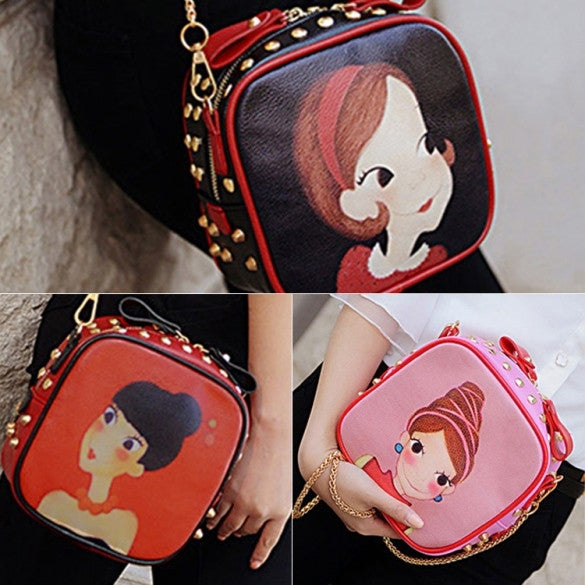 New Fashion Women Synthetic Leather Rivet Decorated Character Pattern Shoulder Bag Messenger Bag Clutch Bag
