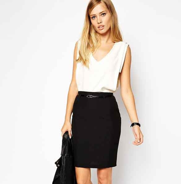 Business Suit Pencil OL Skirts with Belt on - MeetYoursFashion - 3