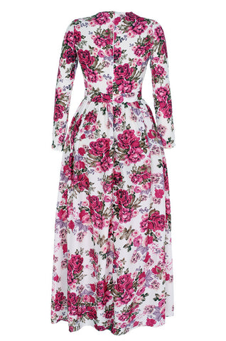 Women Casual Floral Printed Long Sleeve Long Dress - MeetYoursFashion - 5