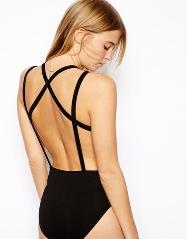 V-neck Cross Back One Piece Bathing Monokini Swimwear - MeetYoursFashion - 3