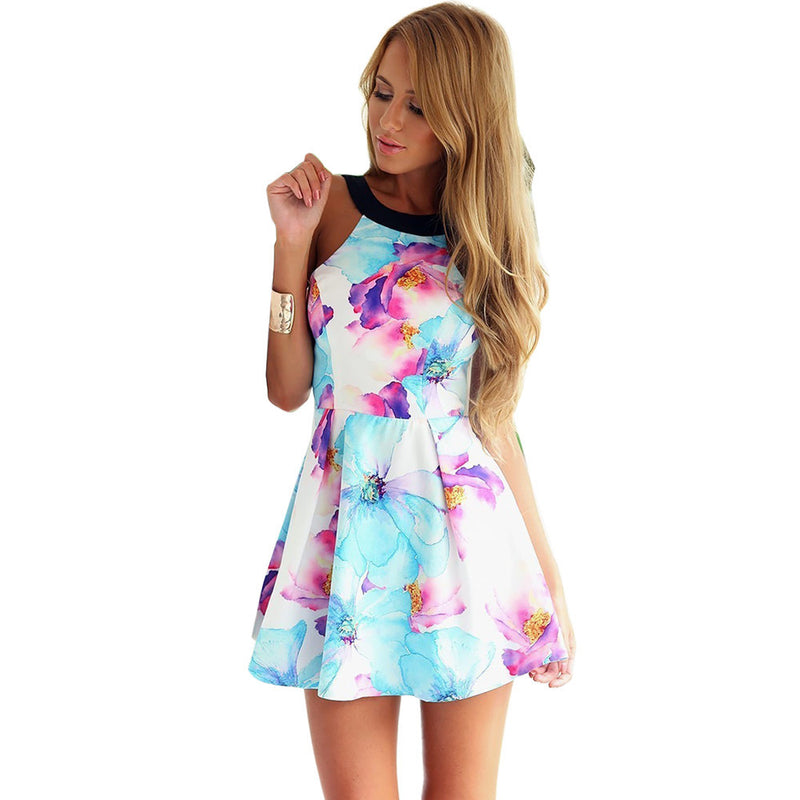 Flower Print Floral Backless Mini Tank Dress - Meet Yours Fashion - 1