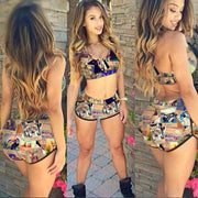 New Trend Print Crop Top with Short Two Pieces Swimwear Bikini Set - Meet Yours Fashion - 1