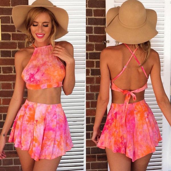 Print Backless Crop Top with Shorts Two Pieces Dress Set - Meet Yours Fashion - 1