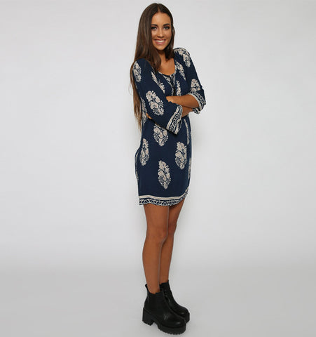 Vintage Style Women Casual Loose O Neck 3/4 Sleeve Print Summer Beach Dress - MeetYoursFashion - 3