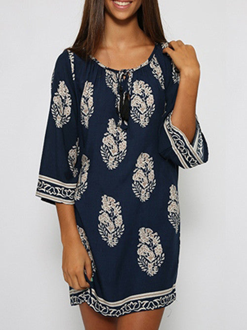 Vintage Style Women Casual Loose O Neck 3/4 Sleeve Print Summer Beach Dress - MeetYoursFashion - 9