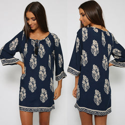 Vintage Style Women Casual Loose O Neck 3/4 Sleeve Print Summer Beach Dress - MeetYoursFashion - 1
