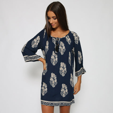 Vintage Style Women Casual Loose O Neck 3/4 Sleeve Print Summer Beach Dress - MeetYoursFashion - 10
