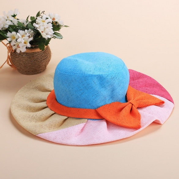 Fashion Women And Girls Summer Bohemian Casual Bowknot Straw Wide Brim Beach Sun Hats