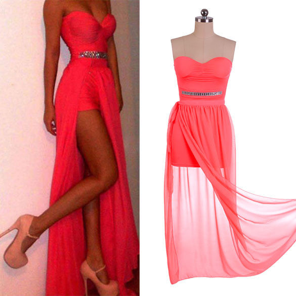 Irregular Low High Bodycon Prom Dress - MeetYoursFashion - 3