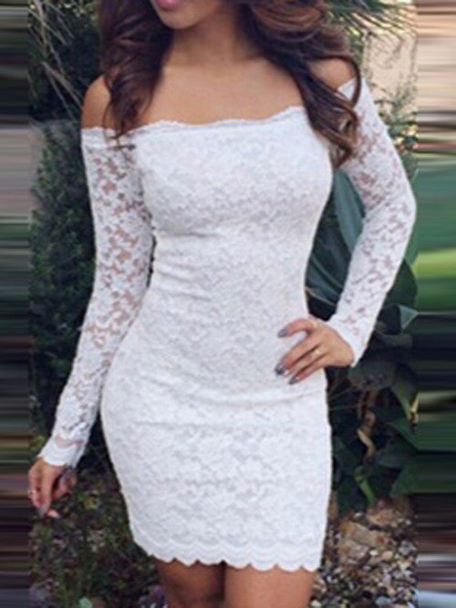 Off-shoulder Package Hip Bodycon Long Sleeves Short Lace Pencil Dress - MeetYoursFashion - 3