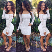 Off-shoulder Package Hip Bodycon Long Sleeves Short Lace Pencil Dress - MeetYoursFashion - 1