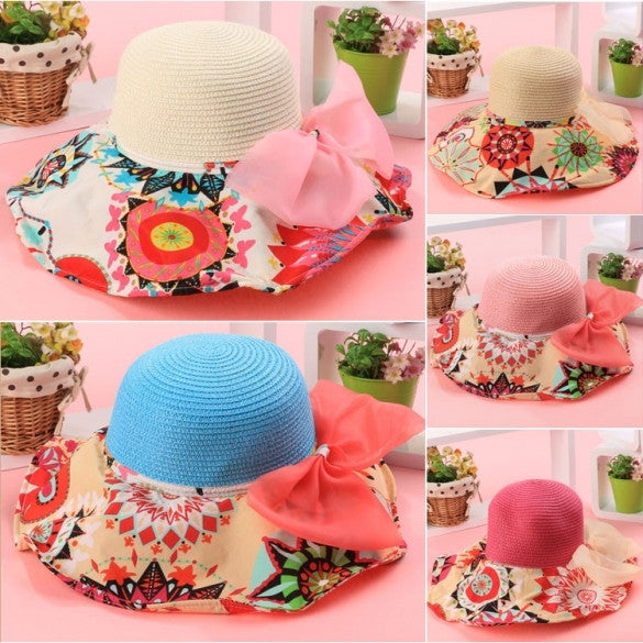 Fashion Women Folding Floral Print Floppy Hat Straw Beach Wide Large Cap Gift