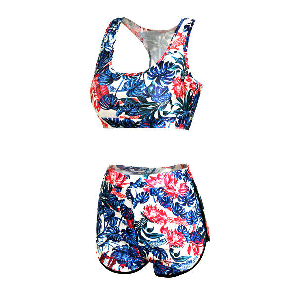 Two Pieces Backless High Waist Flower Print Stretch Swimwear - MeetYoursFashion - 4