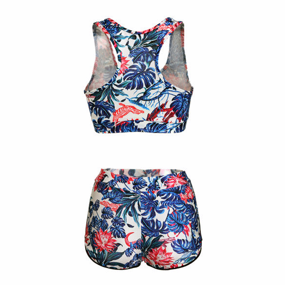 Two Pieces Backless High Waist Flower Print Stretch Swimwear - MeetYoursFashion - 5