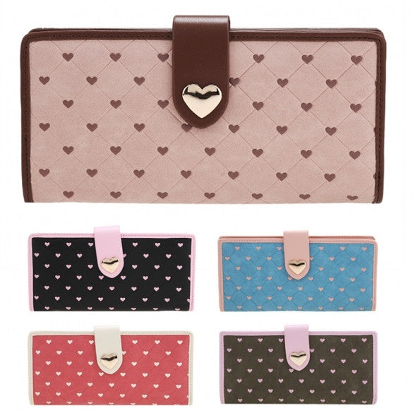 Women Synthetic Leather Plaid Money Card Slot Button Zipper Closure Folded Casual Long Wallet Purse