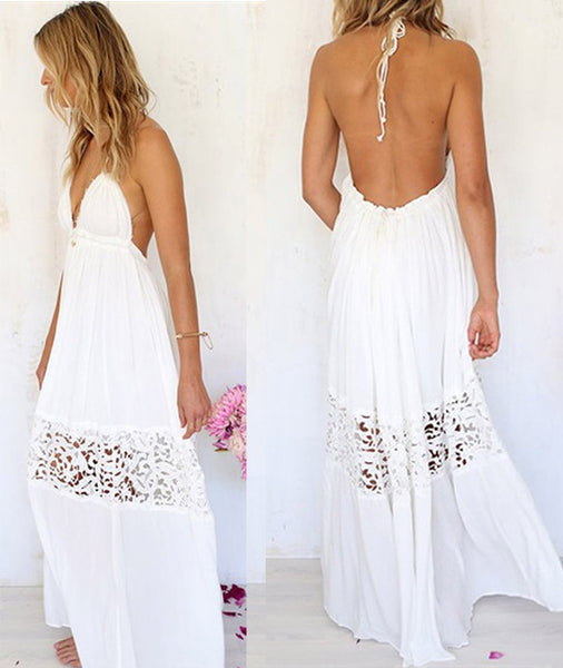 V-neck Backless Crochet Maxi Beach Dress - MeetYoursFashion - 3