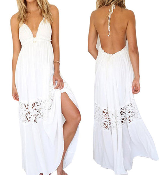 V-neck Backless Crochet Maxi Beach Dress - MeetYoursFashion - 4