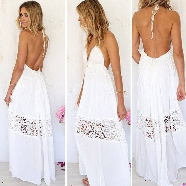 V-neck Backless Crochet Maxi Beach Dress - MeetYoursFashion - 1