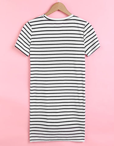 Women Striped Short Sleeve Side Split Tops Blouse - MeetYoursFashion - 5