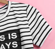 Women Striped Short Sleeve Side Split Tops Blouse - MeetYoursFashion - 6