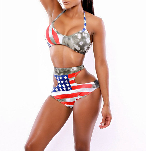 High Waist Sexy Hollow Out Halter American Flag Print Bikini Set - Meet Yours Fashion - 3