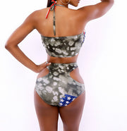 High Waist Sexy Hollow Out Halter American Flag Print Bikini Set - Meet Yours Fashion - 5