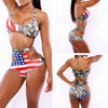 High Waist Sexy Hollow Out Halter American Flag Print Bikini Set - Meet Yours Fashion - 1