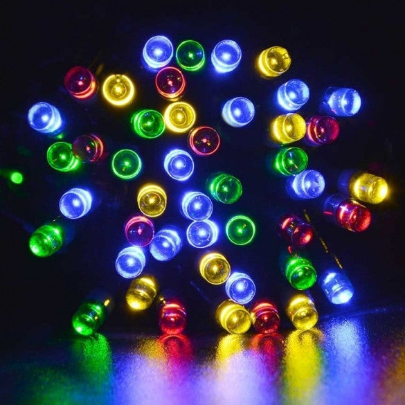 12M 100 LED Solar String Light Multi-color Waterproof Christmas Party Outdoor Decor Light
