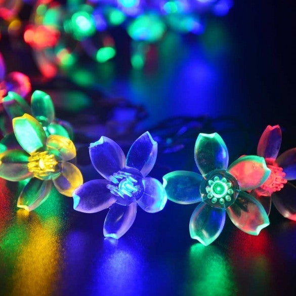 7M 50 LED Solar Flower String Light Multi-color Waterproof Christmas Party Outdoor Decor Light