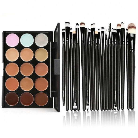 Makeup Cosmetic Concealer Palette 15 Colors Contour Face Cream + 20 PCS Power Brush