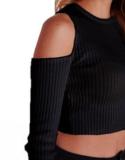 Sexy Off Shoulder Long Sleeve Stretch Solid Short Knitwear T-shirt - MeetYoursFashion - 5