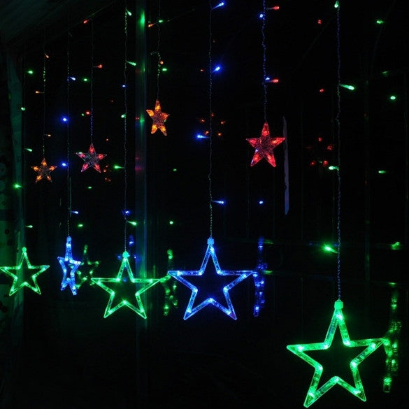 Fashion 12 Star Shape LED Flash Lights Party Wedding Festival Decorations Strobe Curtain Night Lights