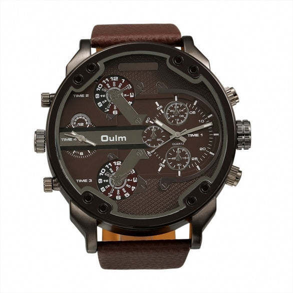 OULM Fashion Oversized Dual Dial Display Time Chronograph PU Leather Band Men's Watch - Meet Yours Fashion - 1