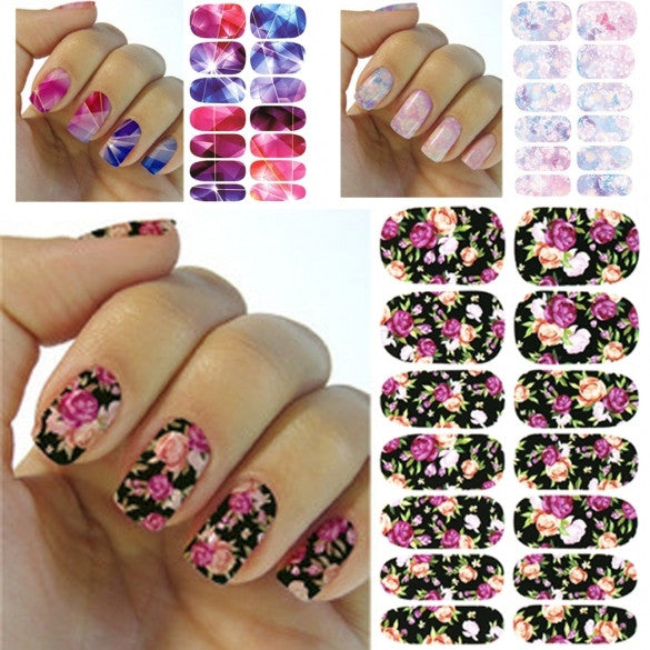 6PCS Water Transfer Foil Nails Stickers Manicure Nail Art Tool Decors Water Film Paper Decals Set