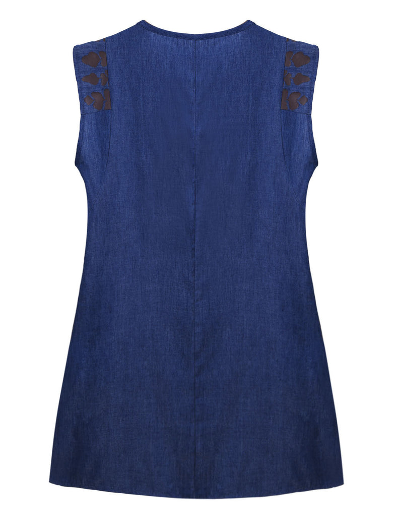 Women Print Sleeveless Denim Dress - MeetYoursFashion - 8