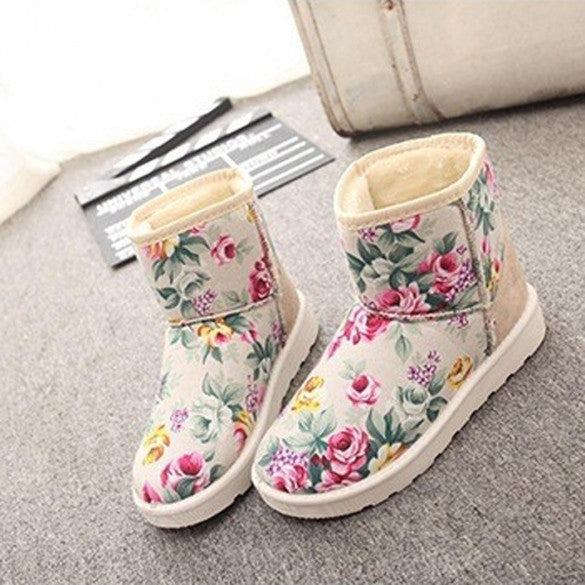 f489ff4b842 Women's Casual Winter Floral Round Toe Flat Plush Thicken Short Snow Boots