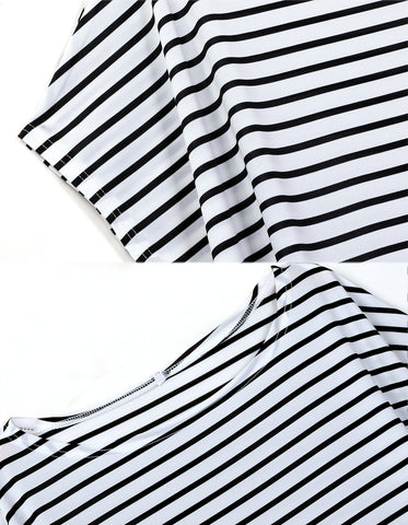 Loose One Shoulder Bat-wing Sleeve Stripe Irregular Plus Size Dress - MeetYoursFashion - 5