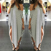 Loose One Shoulder Bat-wing Sleeve Stripe Irregular Plus Size Dress - MeetYoursFashion - 1