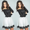 Off Shoulder High Waist Patchwork Lace-trimmed Short Dress - MeetYoursFashion - 3