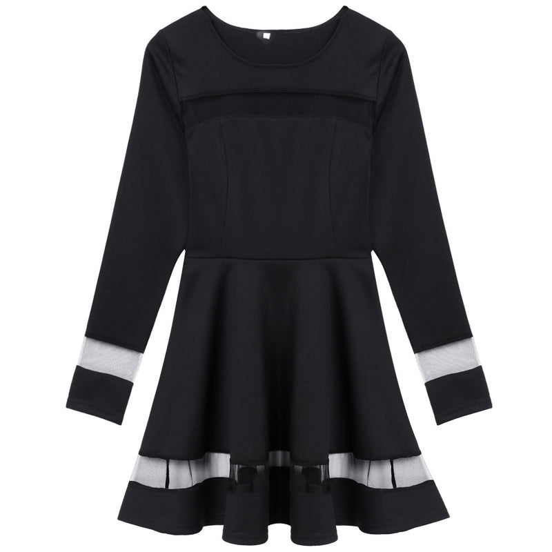 Stylish Women Sexy Long Sleeve High Waist Casual Patchwork Mini Pleated Dress - MeetYoursFashion - 5