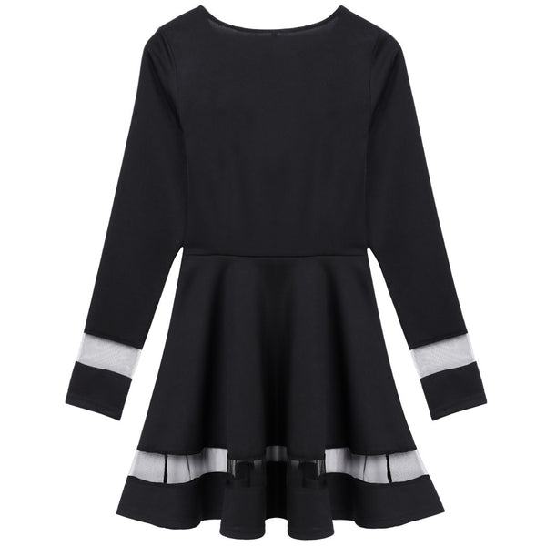 Stylish Women Sexy Long Sleeve High Waist Casual Patchwork Mini Pleated Dress - MeetYoursFashion - 6