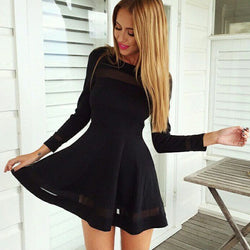 Stylish Women Sexy Long Sleeve High Waist Casual Patchwork Mini Pleated Dress - MeetYoursFashion - 1