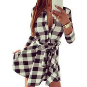 Ladies Plaid Belt Shirt Dress Lapel Button Dress - Meet Yours Fashion - 1