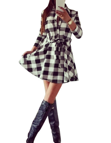 Ladies Plaid Belt Shirt Dress Lapel Button Dress - Meet Yours Fashion - 3