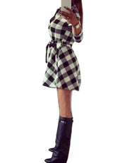 Ladies Plaid Belt Shirt Dress Lapel Button Dress - Meet Yours Fashion - 4