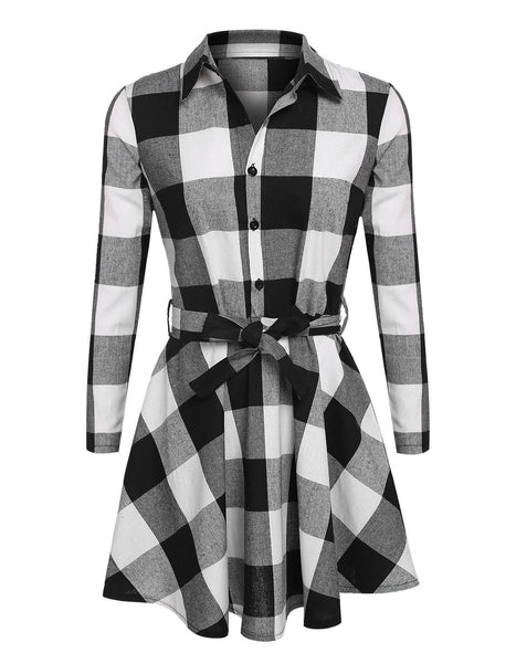 Ladies Plaid Belt Shirt Dress Lapel Button Dress - Meet Yours Fashion - 5