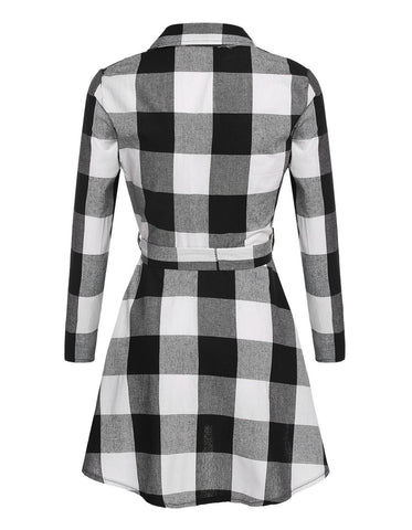 Ladies Plaid Belt Shirt Dress Lapel Button Dress - Meet Yours Fashion - 6