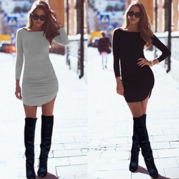 Long Sleeves Bodycon Irregular Pure Color Short Dress - MeetYoursFashion - 1