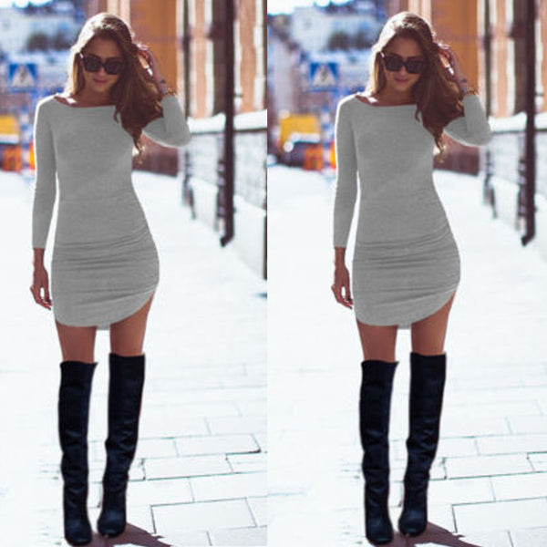 Long Sleeves Bodycon Irregular Pure Color Short Dress - MeetYoursFashion - 2