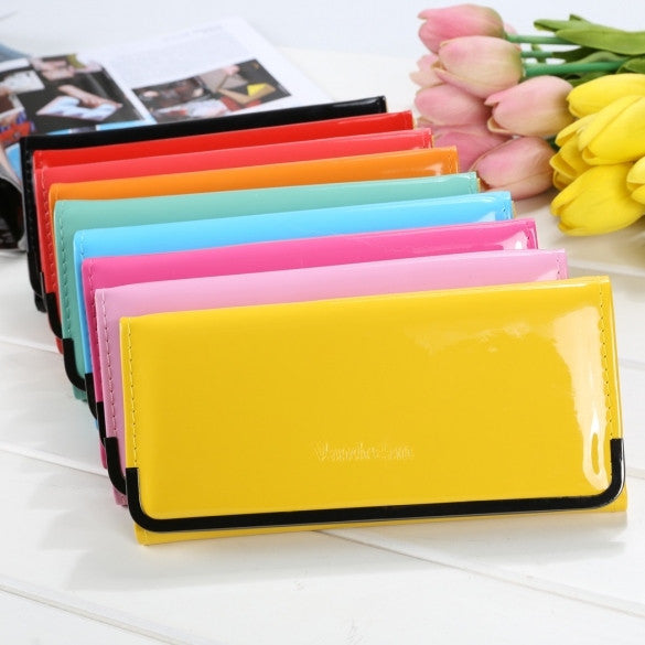 Candy Sweet Color Women Fashion Korean Style Patent Leather Long Wallet Clutch Bag